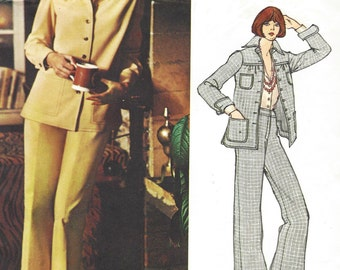 1970s Chuck Howard Womens Below Hip Jacket and Wide Leg Pants Vogue Sewing Pattern 2892 Size 10 Bust 32 1/2 UnCut Vogue Americana Patterns