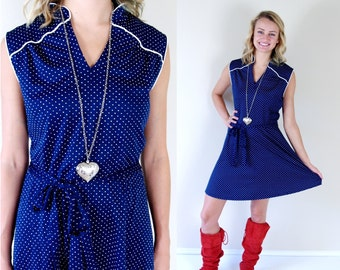 vtg 70s Navy POLKA DOTS belted Mini DRESS Extra Large retro dolly secretary mod boho full skirt blue