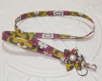 Lanyard - Badge Lanyard -  Fabric Lanyard - Key Lanyard - Gray Pink Green