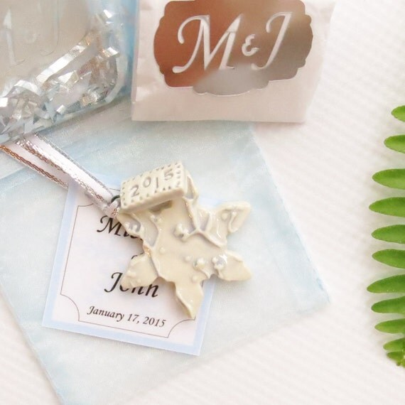 ten winter wedding snowflake ornament personalized wedding