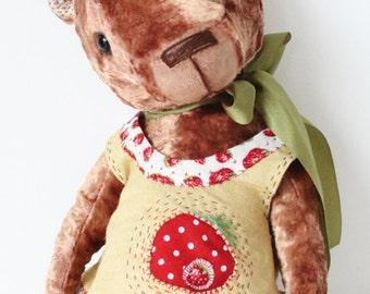 Hand made Collectable artist teddy bear stuffed animal OOAK Berry