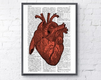 Upcycled Dictionary Page Upcycled Book Art Upcycled Art Print Upcycled Book Print Vintage Art Print Human Red Heart  Print BPSK032