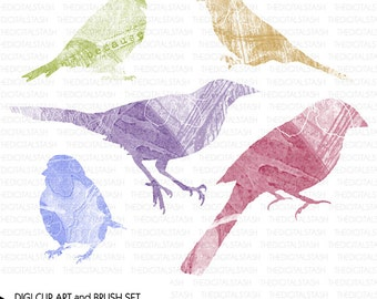 Bird Collage Package - 5 Stamps and Brushes - INSTANT DOWNLOAD - for Invites, Crafts, Collage, Cards, Journaling, Scrap Booking and More
