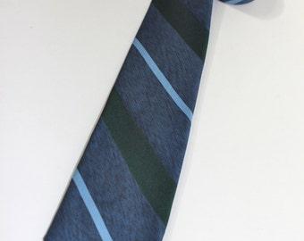 "vintage 1960's -Superba- narrow neck tie. Diagonal 'repp' stripes. Blues & Green. 2 1/2"" wide"