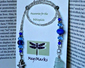 Royal Blue and White Sea Glass BookMark with Wire Wrapped Sea Glass