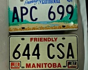 2 Manitoba Canada Licence Plates