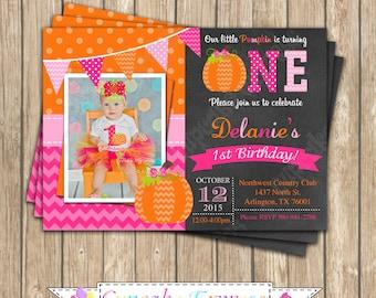 Pumpkin Patch One First Birthday girl orange pink PRINTABLE Invitation #5 chevron polka dot  1st birthday halloween fall 1051