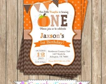 Pumpkin Patch One First Birthday Boy orange brown tan   PRINTABLE Invitation #7 chevron polka dot  1st birthday halloween fall