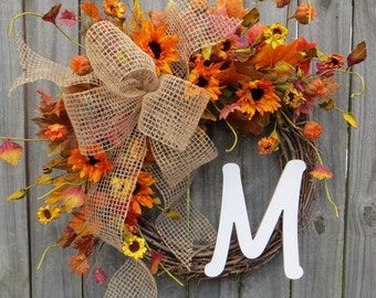 Wreath - Fall Burlap Sunflower Wreath - Fall Wreath - Door Wreath - Rustic Wreath - Burlap Bow Wreath