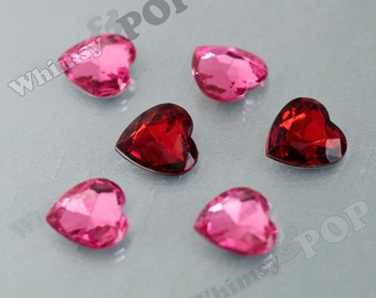 Cherry Red Or Pink Acrylic Heart Loose Rhinestones, Multi-Faceted Rhinestones, Heart Rhinestone, 15mm  (R8-080)