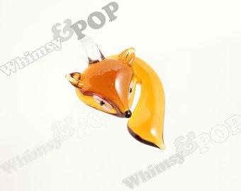 1 - Glass Pendant Brown Foxy Fox Charm Pendant, Fox Charm, Fox Pendant, 55mm x 35mm x 15mm (3-6C)