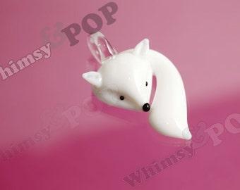 1 - Glass Pendant White Foxy Fox Charm Pendant, Fox Charm, Fox Pendant, 55mm x 35mm x 15mm (R8-050)