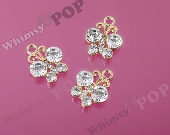 Gold Plated Butterfly Clear Diamante Crystal Rhinestone Charm Pendant, Butterfly Charm, 19mm x16mm (R9-110)