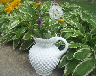 Vintage Fenton Pearly White Hobnail Milk Glass Pitcher