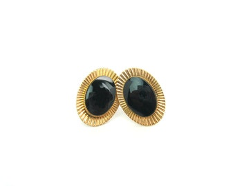 Oval Black Onyx Earrings. Signed Van Dell. Gold Fill Rays. Gemstone Earrings. Screw Backs. 1960s Vintage Retro Jewelry
