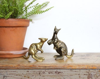 Brass Kangaroos Figurine Statue Gold Sculpture Australia Kangaroo Mid Century Modern MCM Antique Vintage Pair Of Two