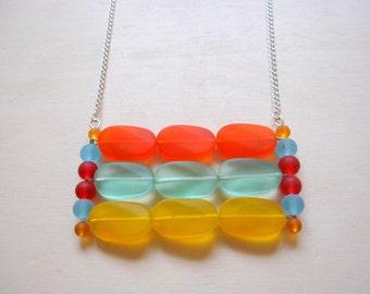 Orange, Aqua and Red Sea Glass Necklace
