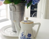 Vintage French Blue & White coffee pot