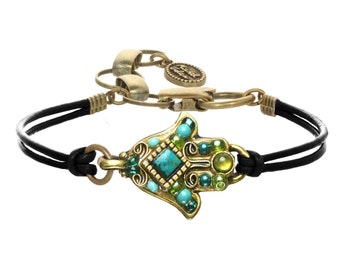 Michal Golan Small Criscola Mosaic Hamsa bracelet with Black Leather Cord