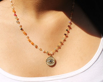 Grey and Gold Eye Necklace
