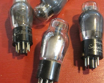Vintage Super Silvertone Vacuum Tubes - Lot of 4 Radio, TV, Amps, Steampunk