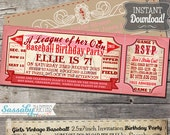 Vintage Girls Baseball Birthday Invitation - A League of her Own Rockford Peaches Inspired - INSTANT DOWNLOAD - Sassaby Editable Invitation