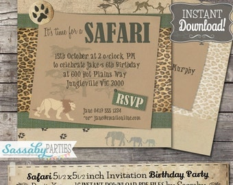 Safari Party Invitation - INSTANT DOWNLOAD - Partially Editable & Printable Birthday Jungle, African Animals, Wild Africa, Lion Invite