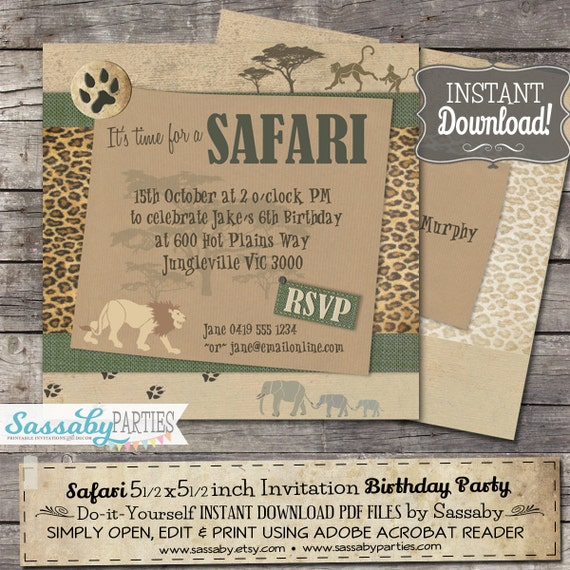 Safari Party Invitation - INSTANT DOWNLOAD - Editable & Printable Birthday Jungle, African Animals, Wild Africa Invite by Sassaby Parties