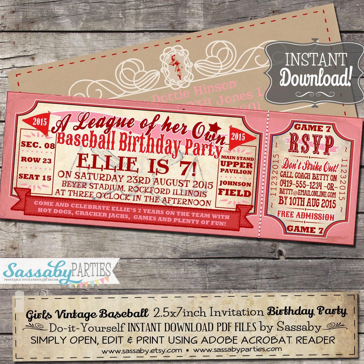 Vintage Baseball Birthday Invitations: Vintage Girls Baseball BIRTHDAY Invitation A League Of Her