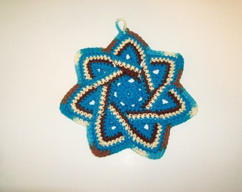 Star Flower Potholder -Turquoise, Dark Brown and Beige- 100% Cotton, Ecofriendly, Re-usable, Reversible