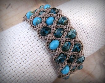 "Boho Chic cuff bracelet ""Beach Blues"", Bohemian Crochet Jewelry"