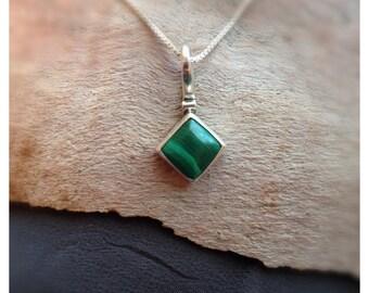 Diamond Malachite Pendant- Silver Malachite- Green Stone Jewelry- Square Sterling Silver Jewelry- Dainty Charm Stone Jewelry