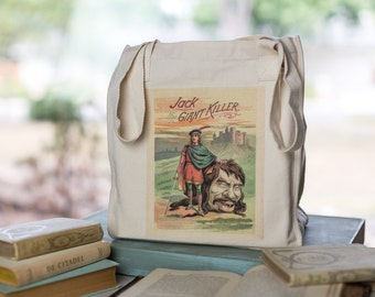 Jack and the Beanstock Tote, Organic Cotton Canvas Bag, Book Bag, Market Tote, Jack the Giant Killer