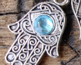 Turquoise Moroccan Hand  hamsa khamsa bead  (A)