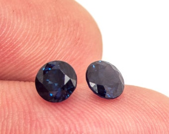 Sapphire Round Cut 5.2 mm Matched Pair Faceted Stones