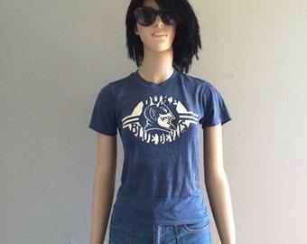 Vintage 1970s Perfect Threadbare Blue Devils Duke University Tee Shirt