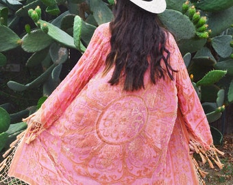 SALE 20% OFF // Gypset Medallion Velvet Burnout Beaded Fringe Tassel Kimono - Salmon