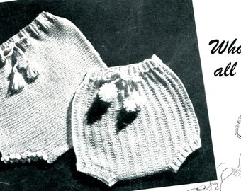 1940's Baby Bloomers or Diaper Covers Knit & Crochet Pattern Instant Download PDF