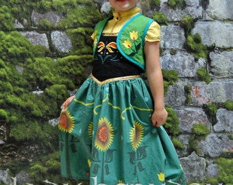Anna's Frozen Fever Dress - Sizes 2T, 3T, 4T, 5, 6, 7, 8 and 10