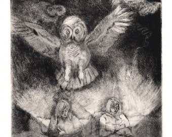 Original Etching - Hand Pulled Print - Drypoint with Mezzotint - Owl Art Etching - Owl Wall Art