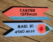 CUSTOM SIGNS, Personalized Signs, Set of 2 Signs, Beach Signs, Directional Signs, Custom Signs, Hand Painted Signs, Arrows, Yard Art
