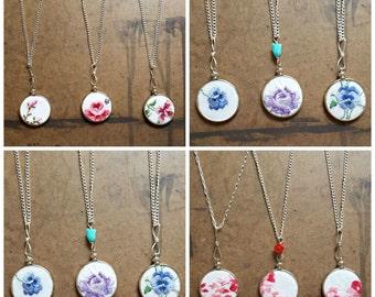 Wholesale Embroidery Hoop | Bridesmaid Necklaces | Vintage Wedding Gift | Bulk Lot Vintage Hankies | Stitched Necklaces