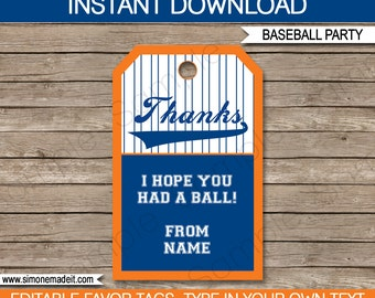 Baseball Favor Tags - Thank You Tags - Birthday Party Favors - Blue and Orange - INSTANT DOWNLOAD with EDITABLE text - you personalize