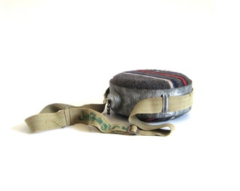 Galvanized Steel Camping Canteen, Striped Wool Cover, Metal Lid, Canvas Strap Water Bottle for Rustic Cabin Decor