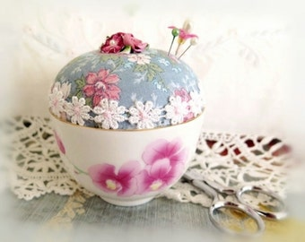 Vintage Teacup Pincushion, Asian Floral Tea Cup,Handmade Soft Sculpture Handcrafted CharlotteStyle Needlecraft