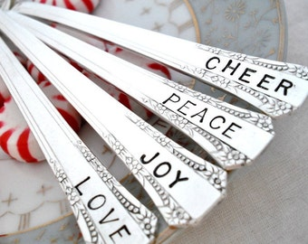 Silver Plated Hand Stamped Teaspoons - peace, joy, love, cheer - Holiday Table Setting - Set of 4 - Del Mar 1939