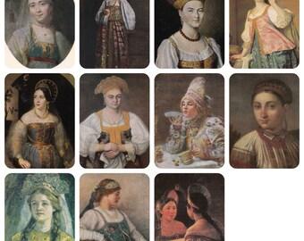 Kokoshnik, Portraits in Kokoshnik (traditional Russian head-dress). Set of 11 Prints, Postcards -- 1950s-1080s