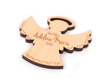 personalized angel ornament - FREE SHIPPING - custom Christmas gift for boy, girl, or adult - an all natural wooden keepsake