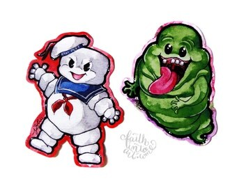 Ghostbusters Stickers // Stay Puft Marshmellow Man // Slimer // <3