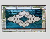 Beveled stained glass window panel steel blue stained glass panel window hanging Victorian glass art suncatcher 0068